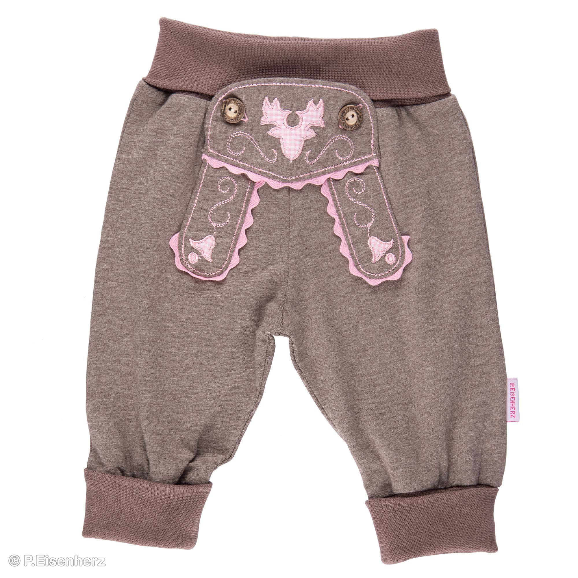 super popular ad3dd 5db47 Babyhose im Lederhosenstil mit Stickerei in rosa