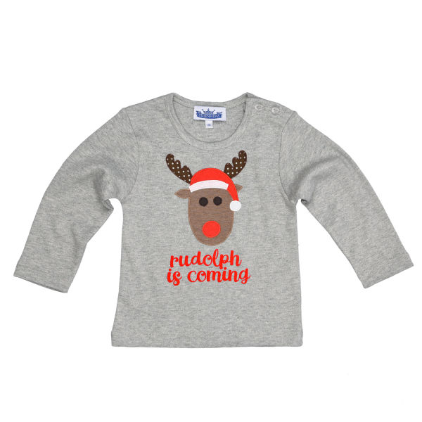 Longsleeve Motiv Rudolph is coming grau
