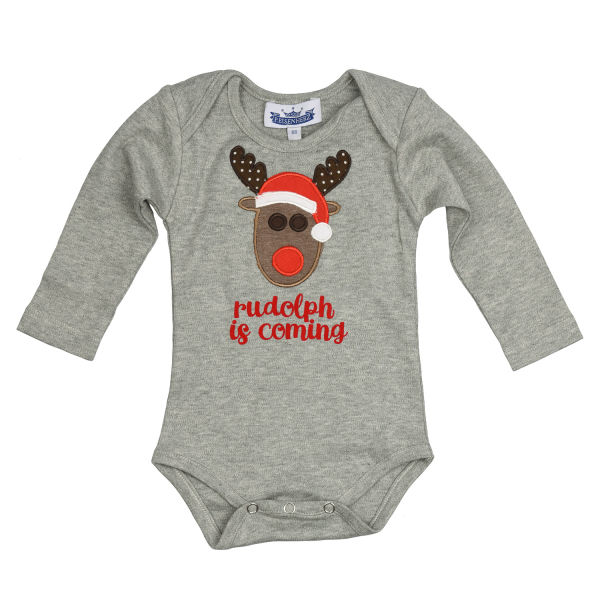 Langarm Body Rudolph is coming grau