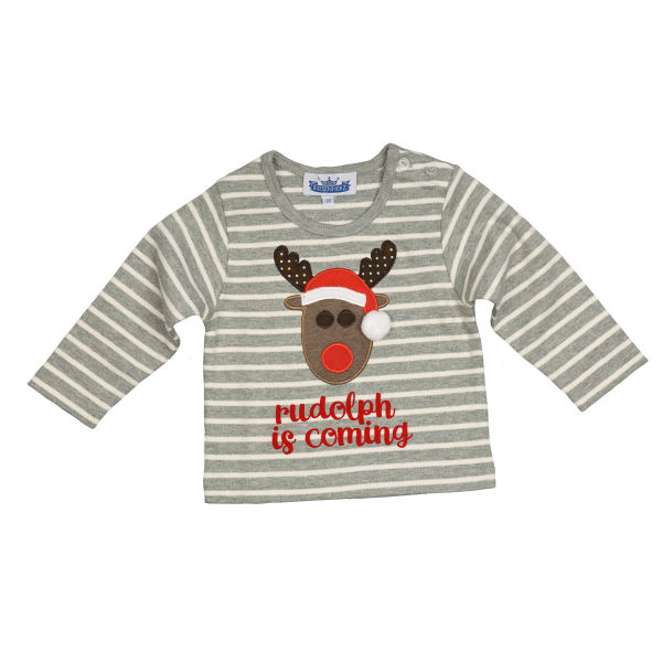 Longsleeve Motiv Rudolph is coming grau/weiß