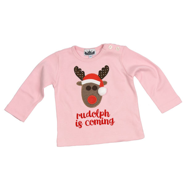 Longsleeve Motiv Rudolph is coming rosa